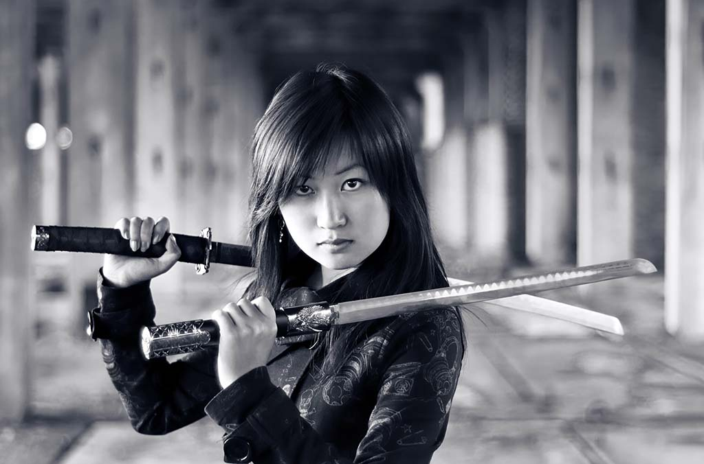 Japanese woman ninja sword